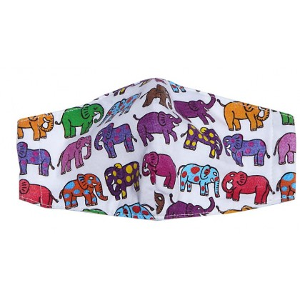 12 Elephants  - Adult White Mask